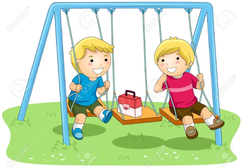 Boys On Swing In The Park Stock Photo Picture And Royalty Free