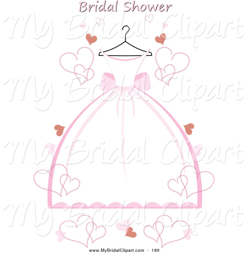 Bridal Clipart Of A Pink And White Poofy Wedding Dress On A Hanger