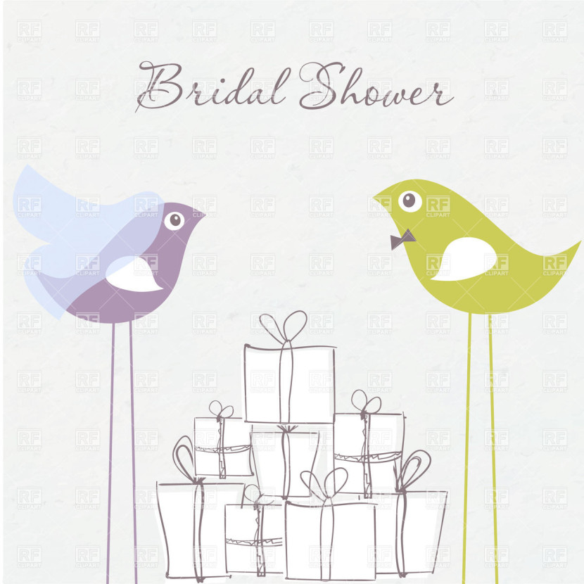 Bridal Shower Invitation Birds In Bride And Groom Costumes And
