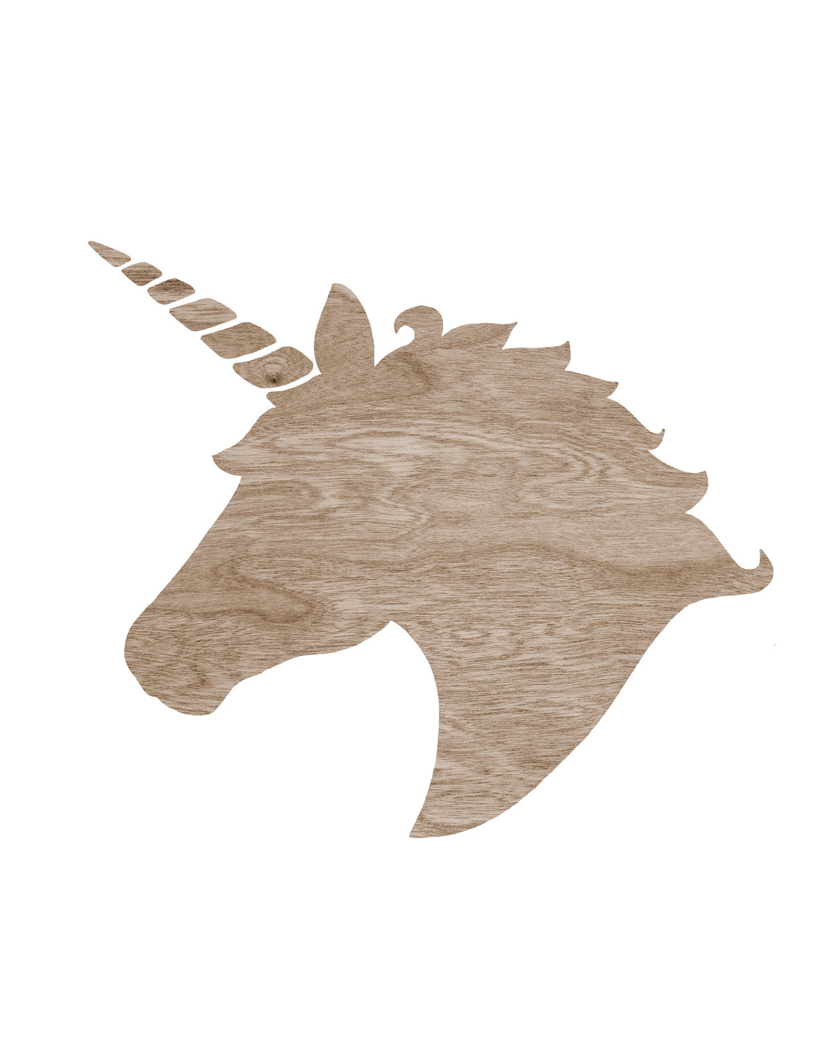 Brown Wood Grain Faux Bois Unicorn Headblockpartyprints