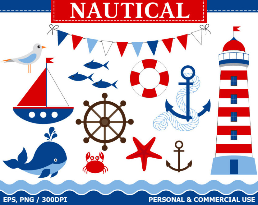 Buy 1 Get 1 Free Digital Nautical Clip Artthecreativemill