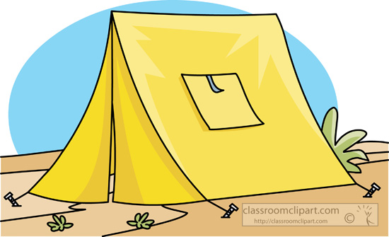 Camping Completely Constructed Yellow Tent At Camp Classroom