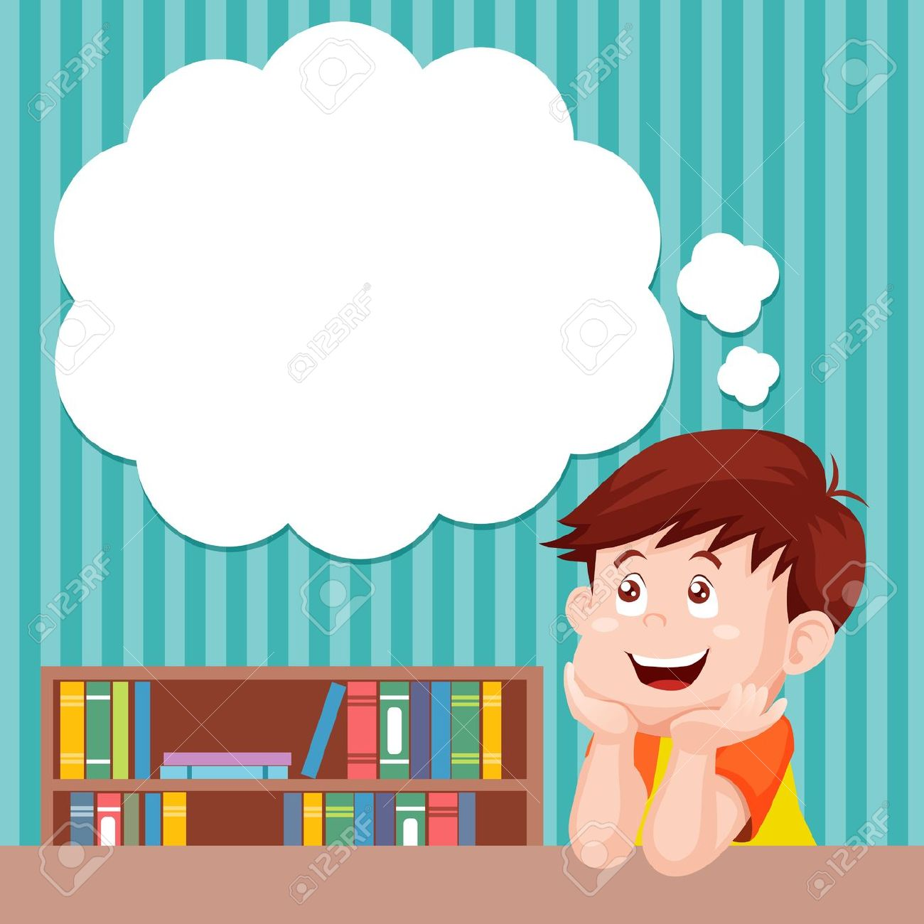 Cartoon Boy Thinking With White Bubble For Text Royalty Free