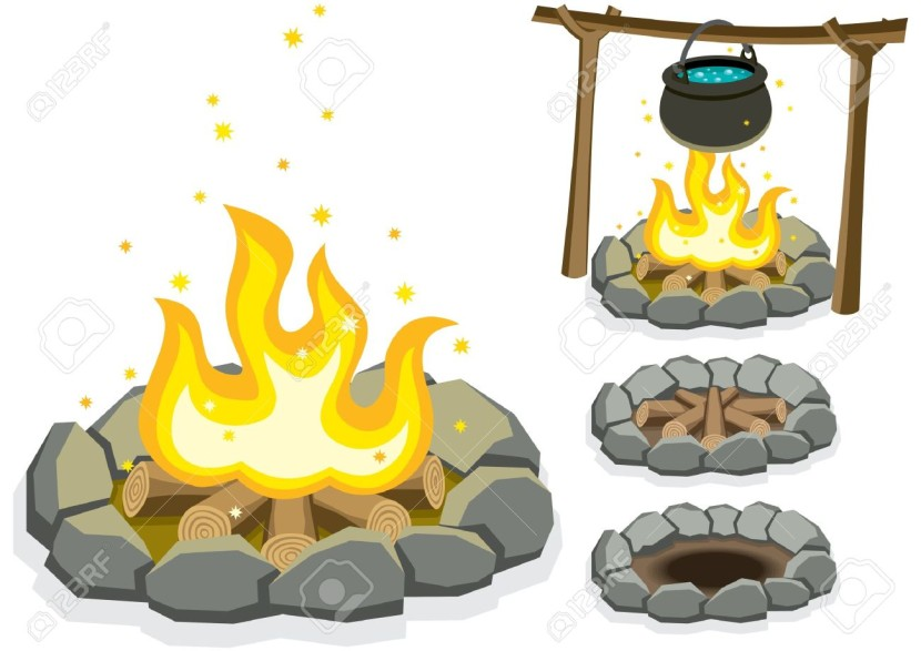 Cartoon Illustration Of 4 Campfires Royalty Free Cliparts Vectors