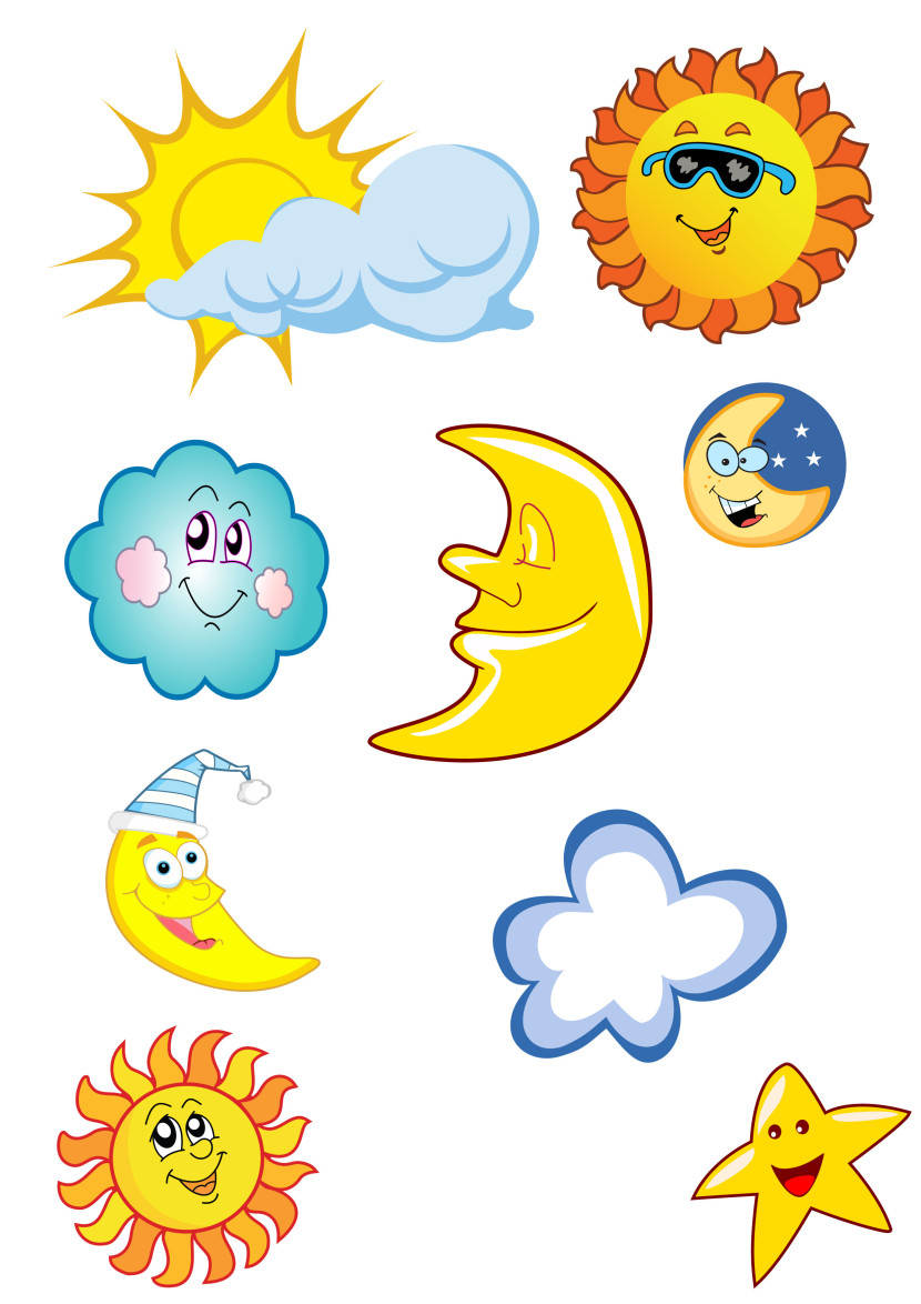 Cartoon Vectors Pack With Sun And Clouds Sunglasses Clipart Free