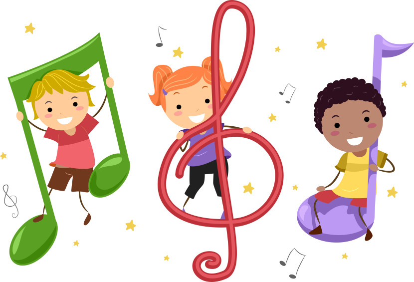 Children Playing Music Instruments Kids Notes Clipart Free Clip