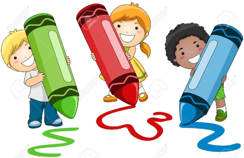 Children Using Crayons Stock Photo Picture And Royalty Free Image