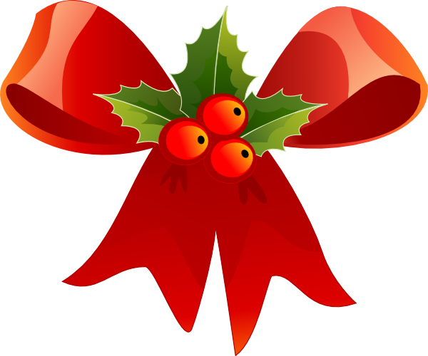 Christmas Bow With Holly Clip Art At Vector Clip Art