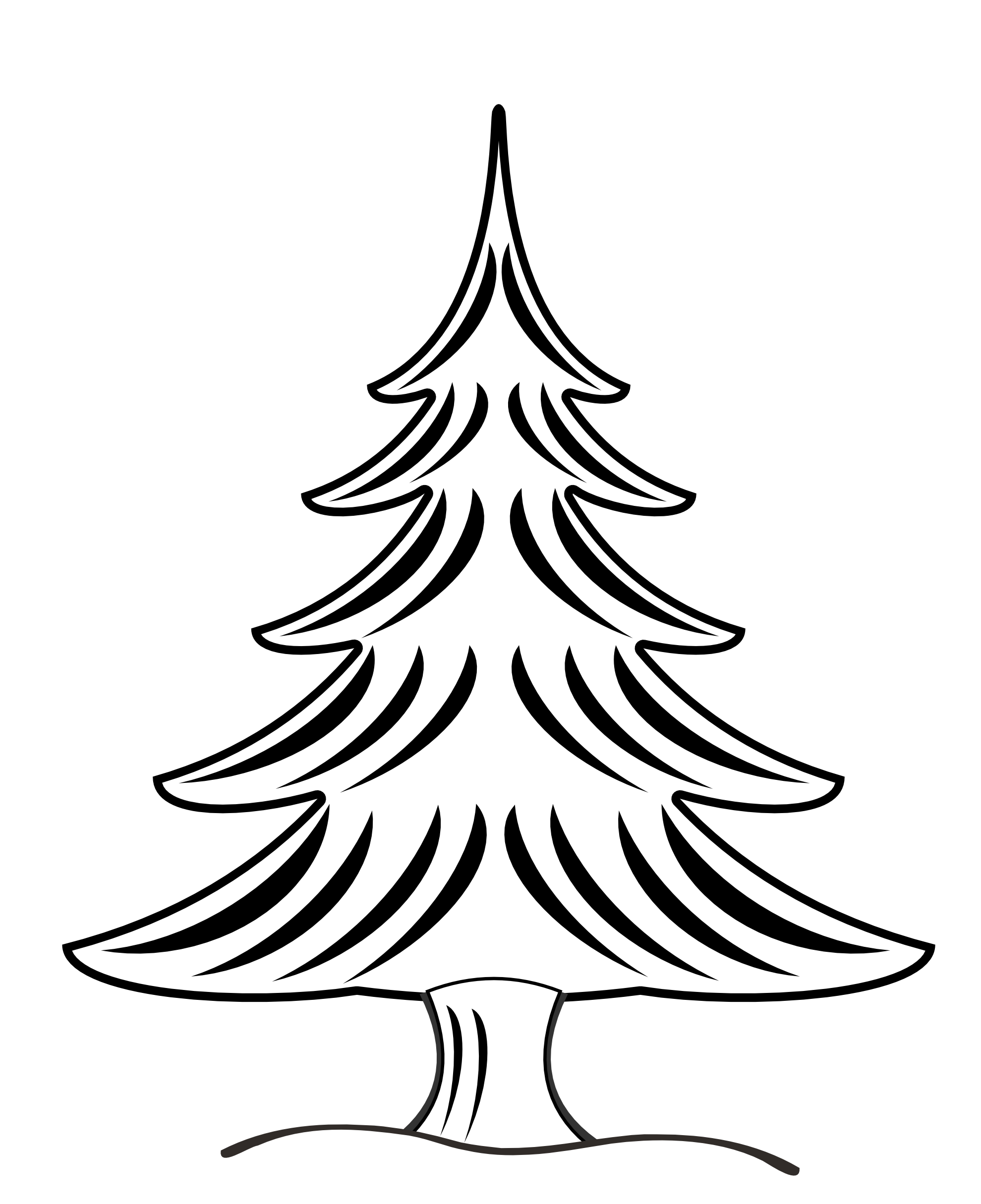 Best Christmas Tree Clipart Black And White #14638 ...