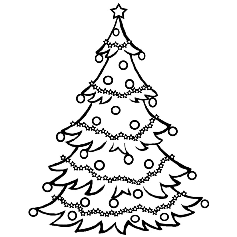 Christmas Tree With Geometric Decoration Clip Art B Amp W December