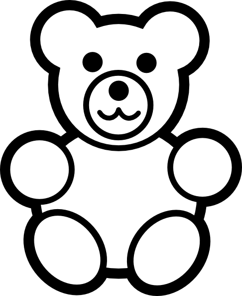 Circle Teddy Bear Black And White Clip Art At Vector