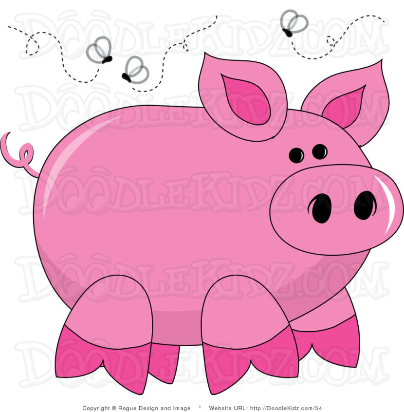 Clip Art Illustration Of A Dirty Pig With Flies Buzzing Around Himpams Clipart