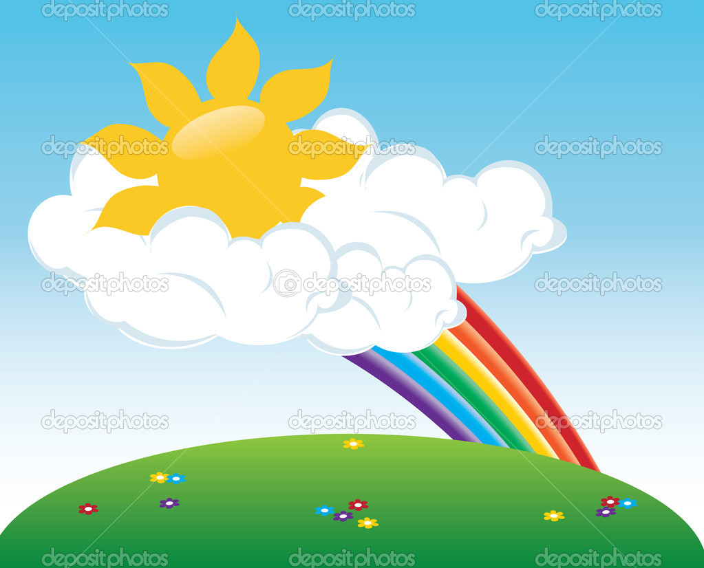 Clip Art Illustration Of A Sun Peeking Out Of Clouds With A Rain