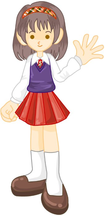 Clip Art Of A Girl Student In White Blouse And Red Skirt Wearing