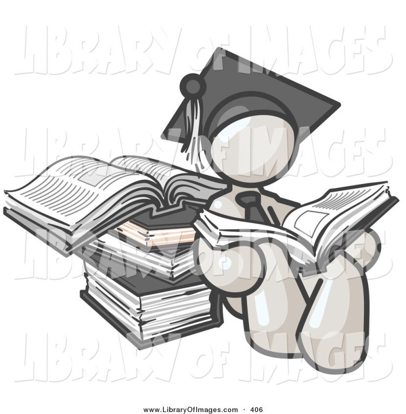 Clip Art Of A Successful White Male Student In A Graduation Cap
