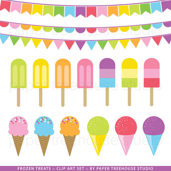 Clip Art Set Ice Cream Popsicle And Snowpapertreehousestudio