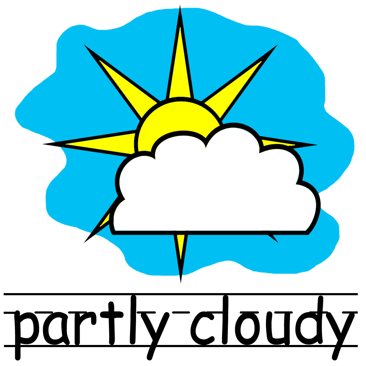 Clip Art Weather Icons Partly Cloudy B Amp W Unlabeled Abcteach