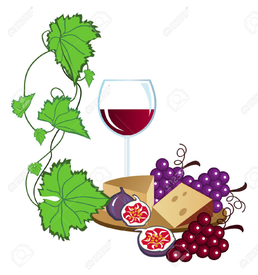 Clip Arts Of Wine Fruits And Cheese Royalty Free Cliparts