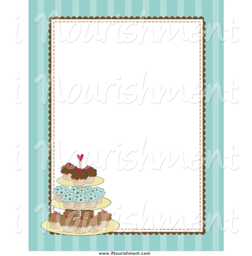 Clipart Of A Blue Striped Cupcake Stand Border With A White