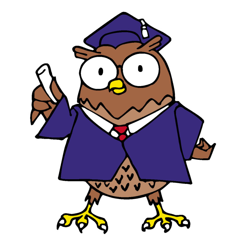 Clipart Vector Professor Owl Reading Teacher Cartoon Clipart