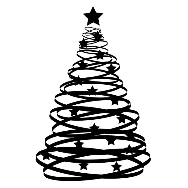 Cliparti1 Black And White Christmas Tree