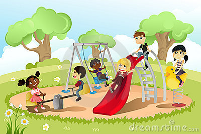 Kids Playing At School Clipart