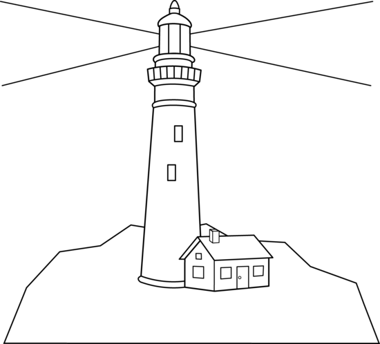 Colorable Lighthouse Scene Free Clip Art
