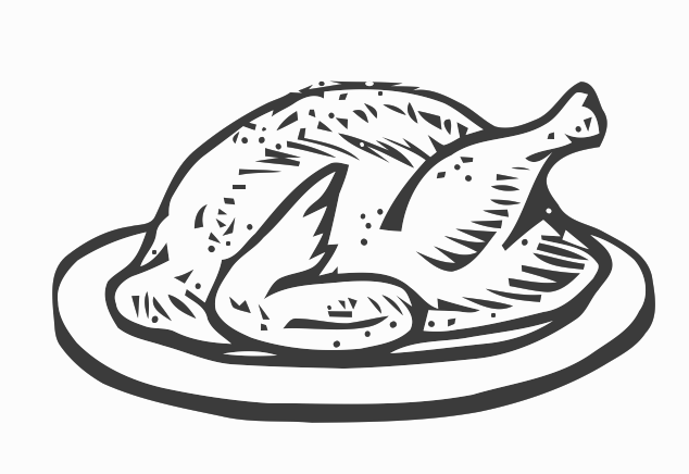 Roast chicken clipart black and white - photo#27
