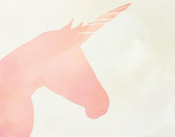 Coral Pink Ombre Watercolor Unicorn Silhouette Unicorns