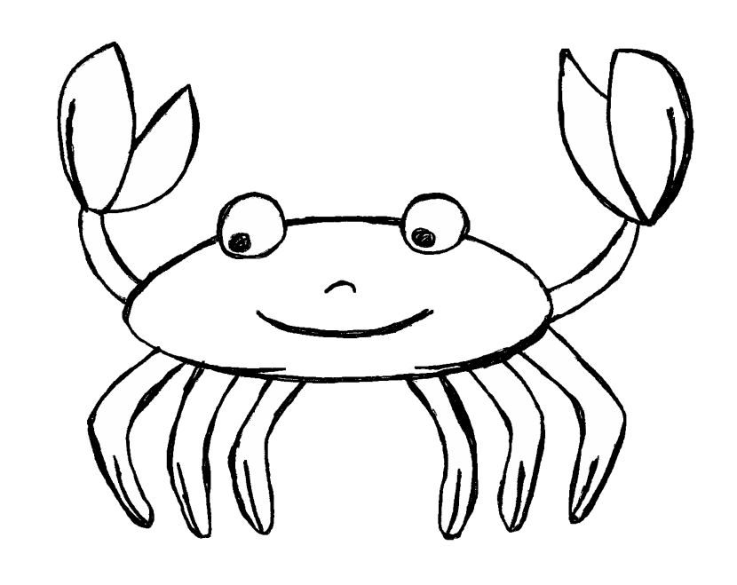 Crab Black And White Clipart