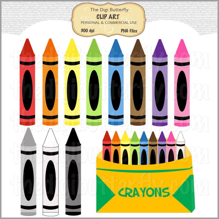 Crayons Clip Art Set Personal And Commercialthedigibutterfly