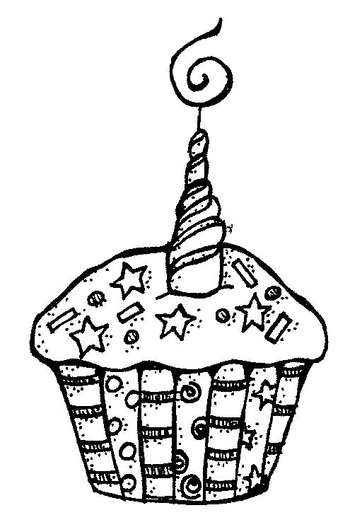 Cupcake Clip Art Black And White Images For Happy Birthday