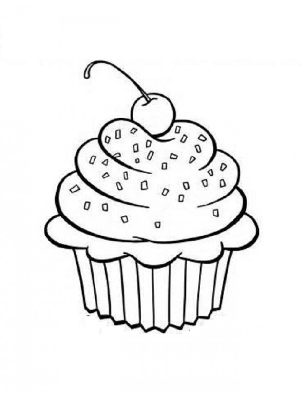 Cupcake Outline Printable Images Amp Pictures Becuo