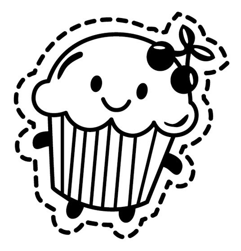 Cupcake Outline Sticker Cupcake Outline 3 Sassystickers