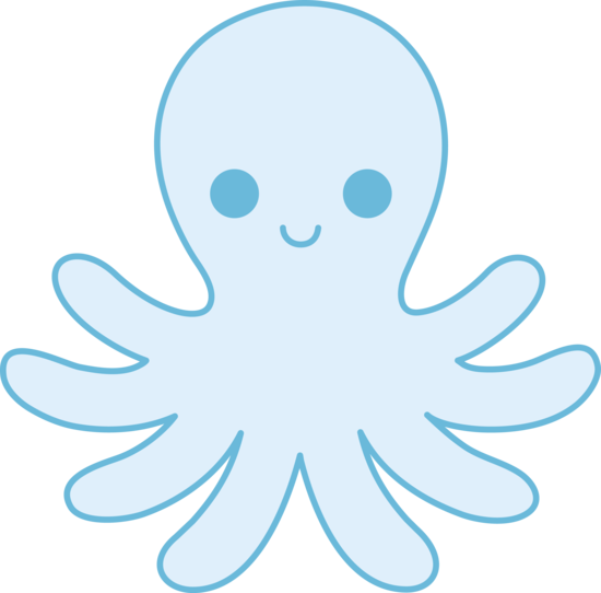 Cute Blue Octopus Free Clip Art