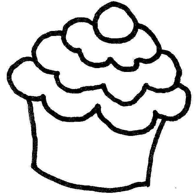 Cute Cupcake Clipart Black And White Gallery