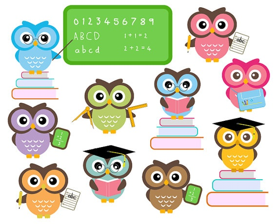 Cute Owls At School Classroom Education Clip Art Personal And