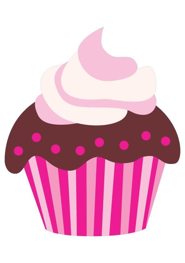 Cute Pink Cartoon Chocolate Cupcake Clip Art Cupcakes
