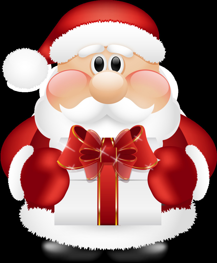Cute Santa Claus With Gift Clipart