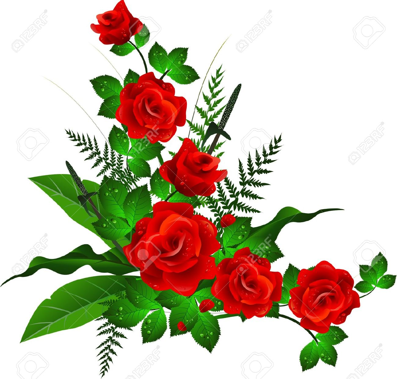 Decoration With Red Rose Royalty Free Cliparts Vectors And Stock