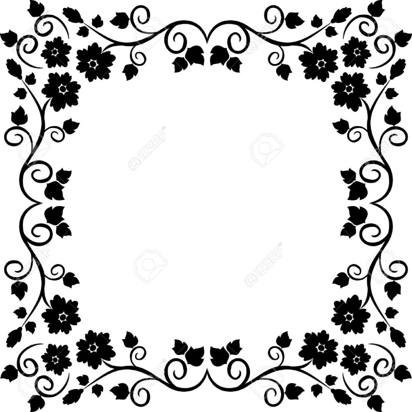 Black And White Flower Border - Clipartion.com