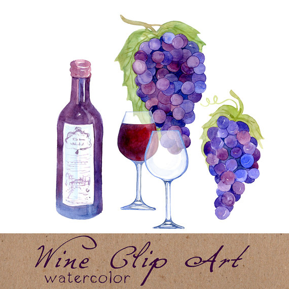Digital Clipart Wine Clip Art Watercolorswiejkoforprint