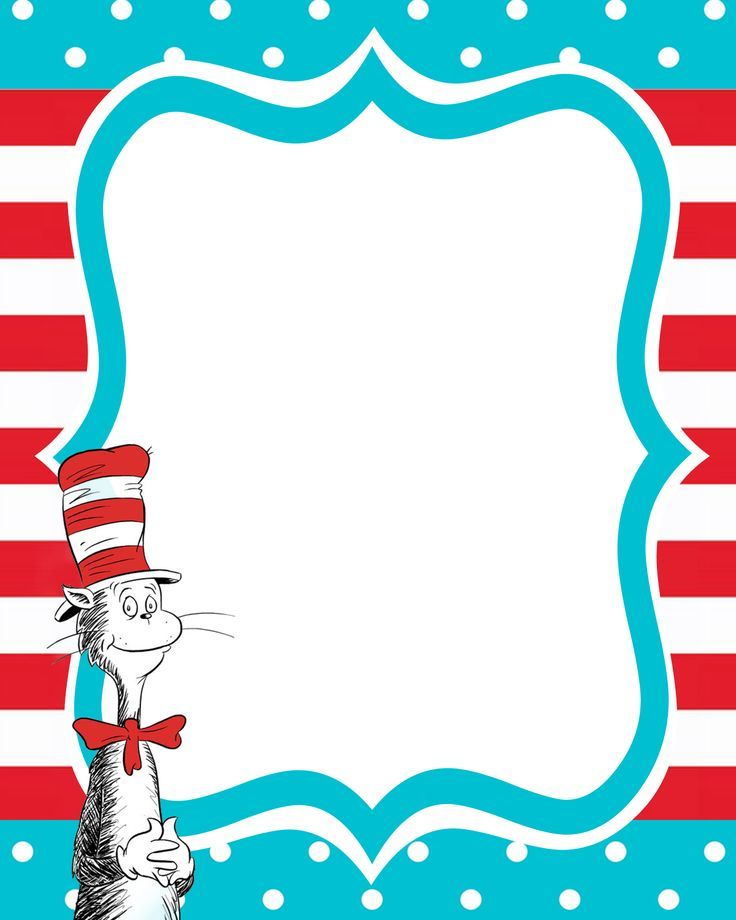 Dr seuss border for Dr seuss birthday card template