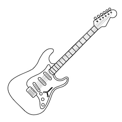 Electric Guitar Coloring Page Music Drawing Just Free Image Download