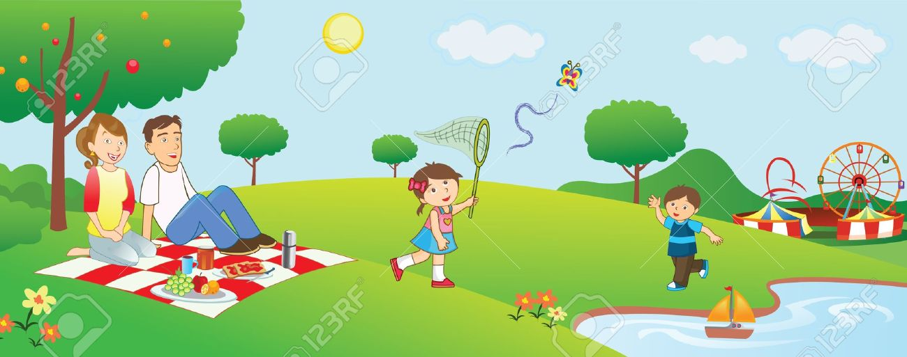 Family Picnic In Park Royalty Free Cliparts Vectors And Stock
