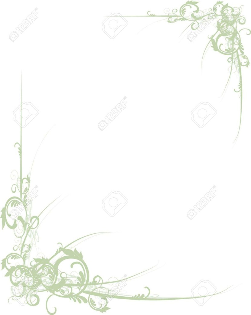 Fancy Green Scroll Floral Corners For Design Royalty Free Cliparts