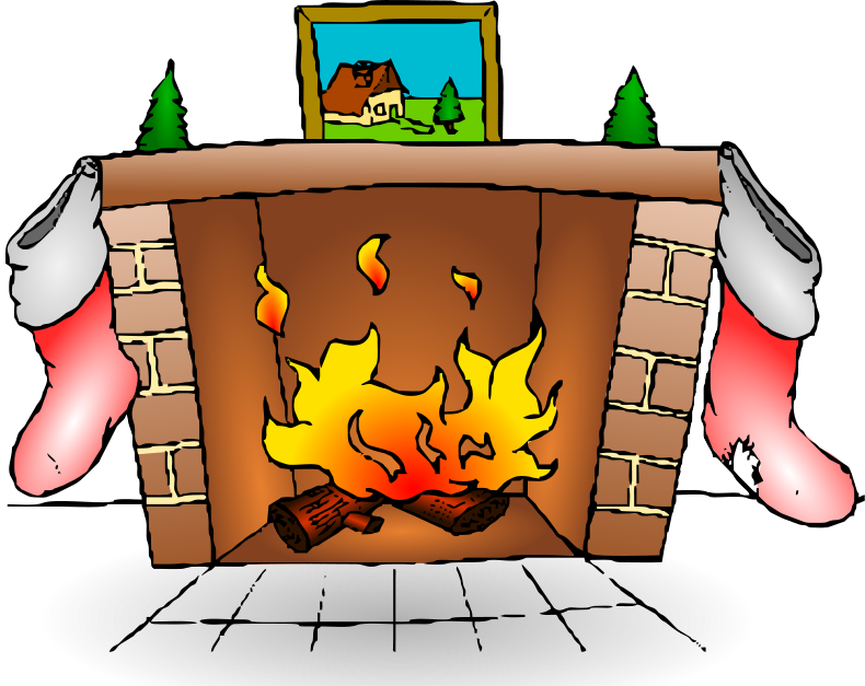 Fireplace With Stockings Png