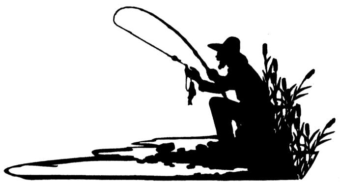 Fisherman Silhouette Mounted Fishing Rubber Stamp Ebay
