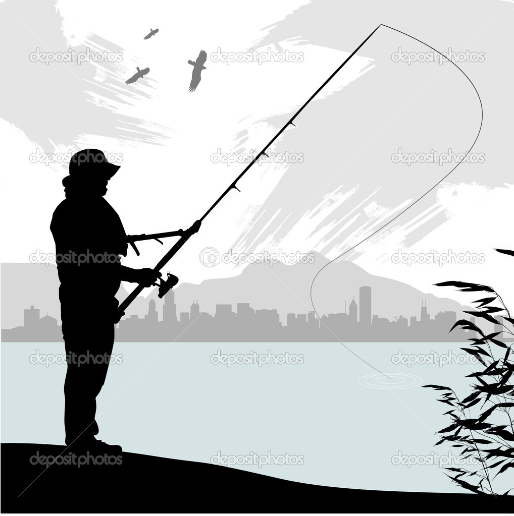 Fishing Silhouette Stock Vector Bogalo