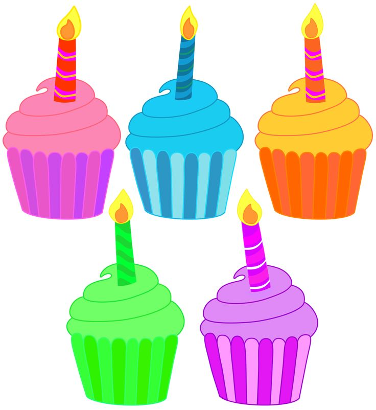 Five Birthday Cupcakes With A Single Candle Free Png Files That